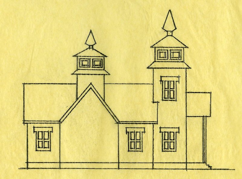 Sketch of Transfiguration of Our Lord Chapel in Ninilchik
