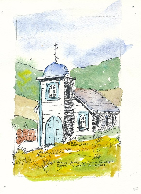 Watercolor of Holy Assumption Russian Orthodox Church on Attu