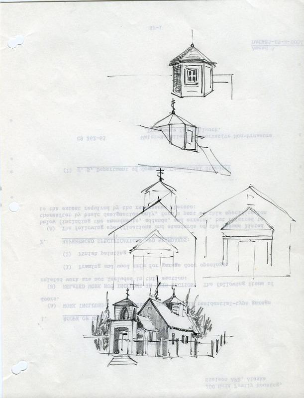 Drawing and sketches of Nativity of Our Lord Church in Ouzinkie