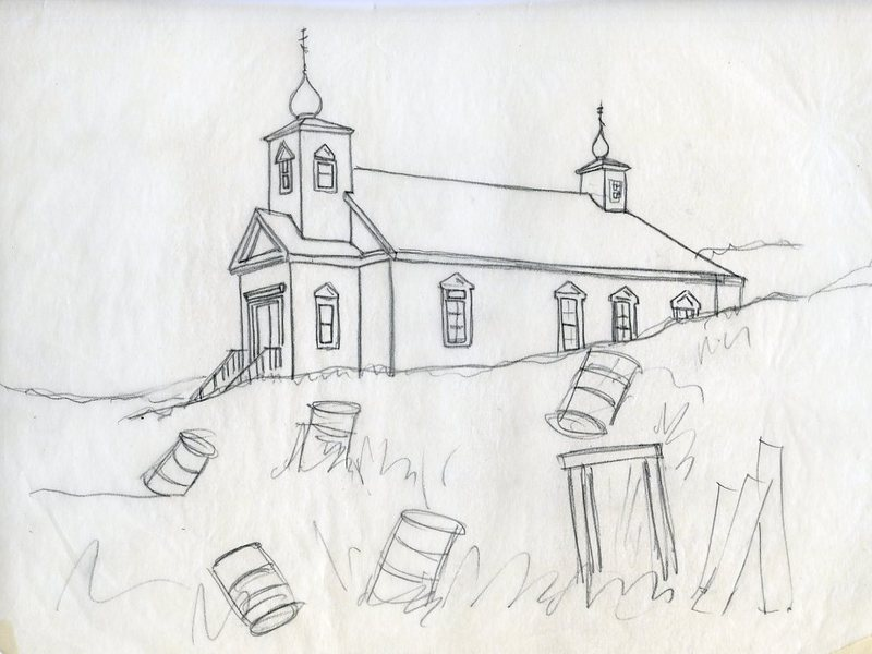 Sketch of Transfiguration of Our Lord Chapel in Nushagak