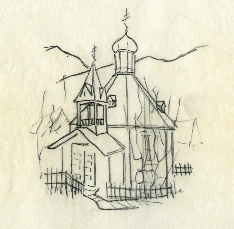 Sketch, Saint Nicholas Orthodox Church, Juneau