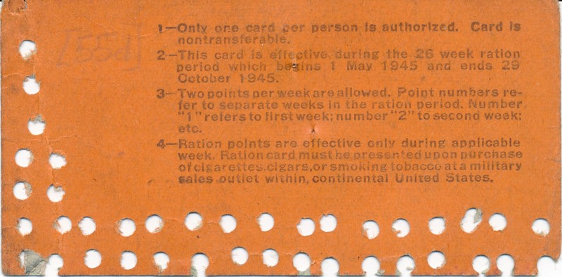 Tobacco Ration Card