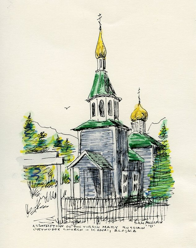 Watercolor of Church of the Assumption of the Virgin Mary<br />