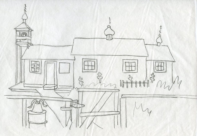 Sketch of St. Seraphim Chapel in Lower Kalskag