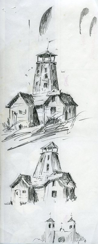 Two sketches of the Salty Dawg and one of a church<br />