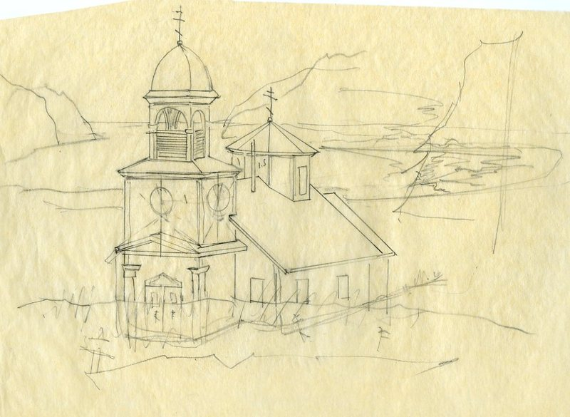 Sketch of Ascension of Our Lord Chapel in Karluk