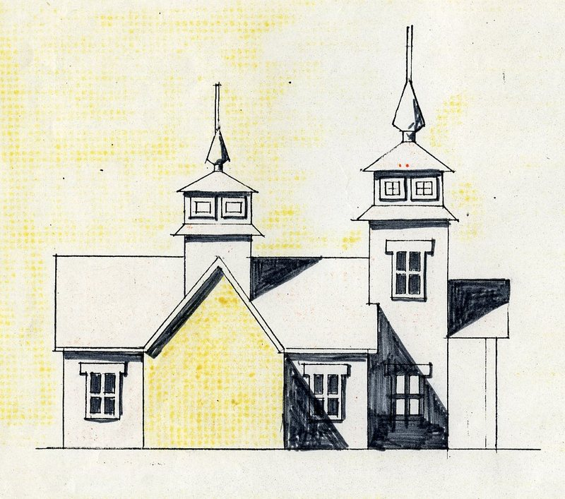 Side view sketch of Transfiguration of Our Lord Chapel in Ninilchik