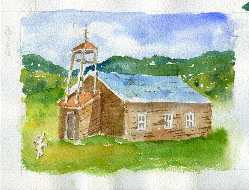 Watercolor of St. Nicholas Russian Orthodox Church