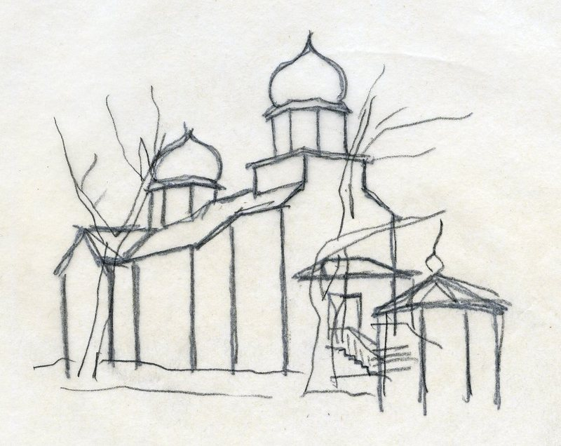 Preliminary sketch of Holy Resurrection Church in Kodiak