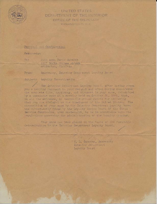Interior Department Loyalty Board memorandum to Ruth Schmidt