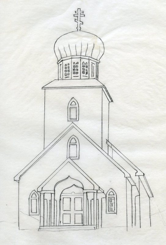 Drawing of St. George Church, St. George Island