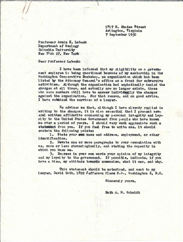 Letter from Ruth Schmidt to Professor Armin K. Lobeck, 1950 September 7.