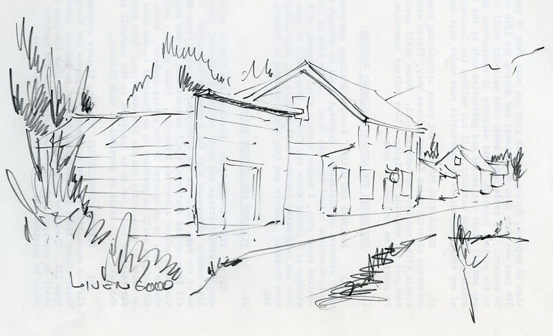 Sketch of buildings along a street in Livengood