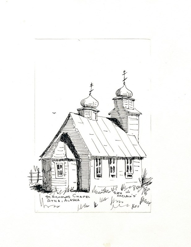 Sketch of St. Nicholas Orthodox Chapel in Atka