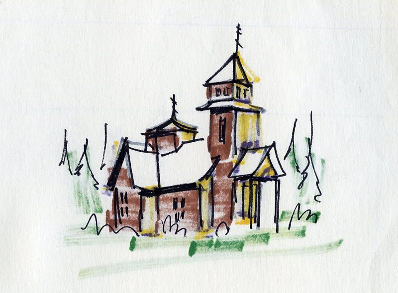 Drawing of Transfiguration of Our Lord Chapel in Ninilchik