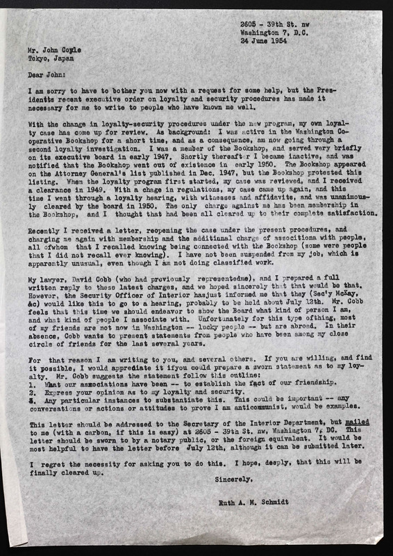 Letter from Ruth Schmidt to John Coyle asking for affidavit.