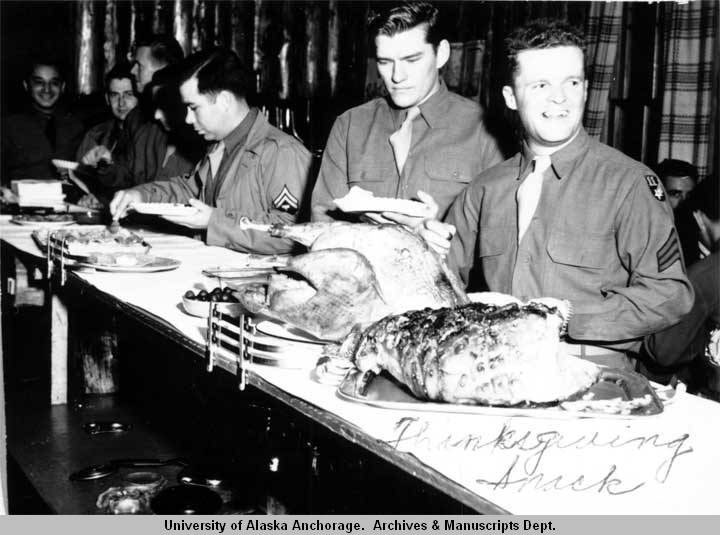 """Thanksgiving Snack"" at USO building, Anchorage"