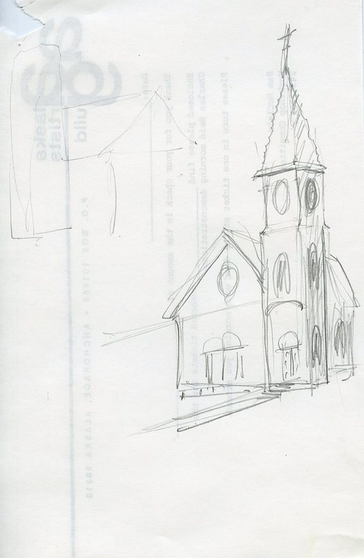 Sketch of Saint Joseph's Catholic Church, Nome