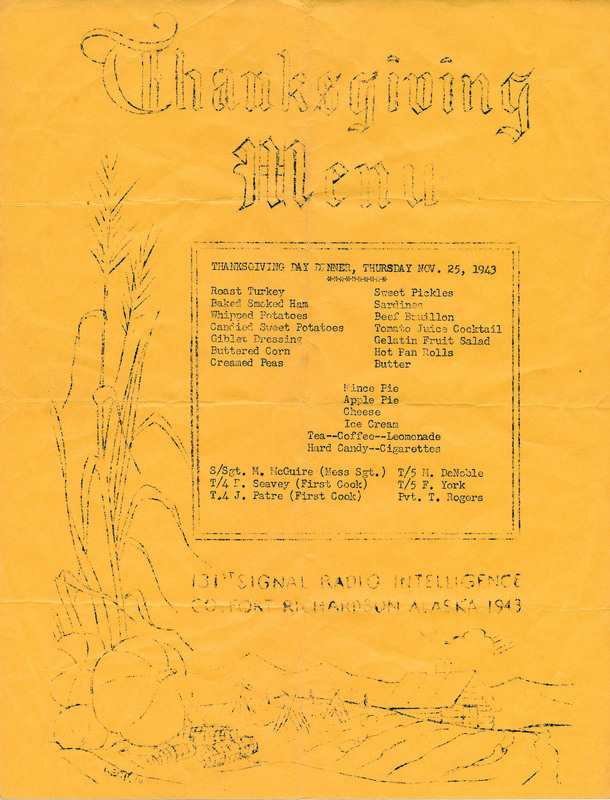 Thanksgiving, 102nd Signal Radio Intelligence Co., Fort Richardson, 1943