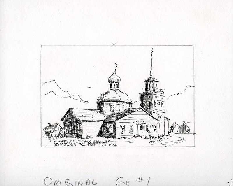 Drawing and card spec of St. Michael the Archangel Cathedral in Sitka