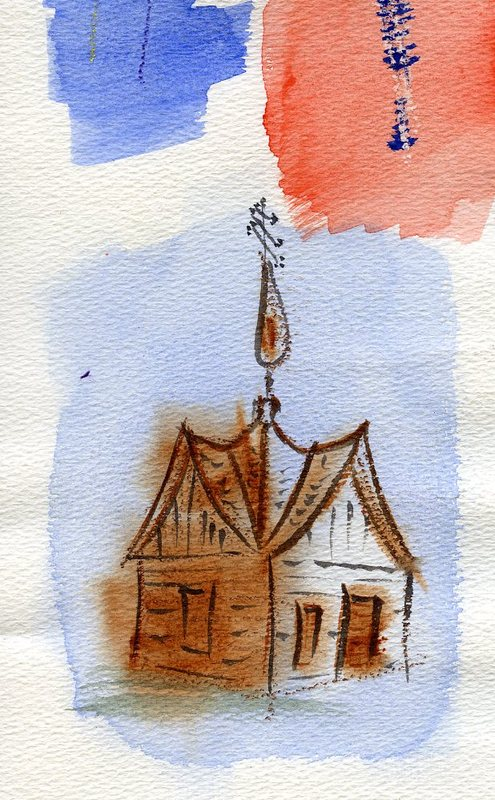 Watercolor of Saint Nicholas Memorial Chapel<br />