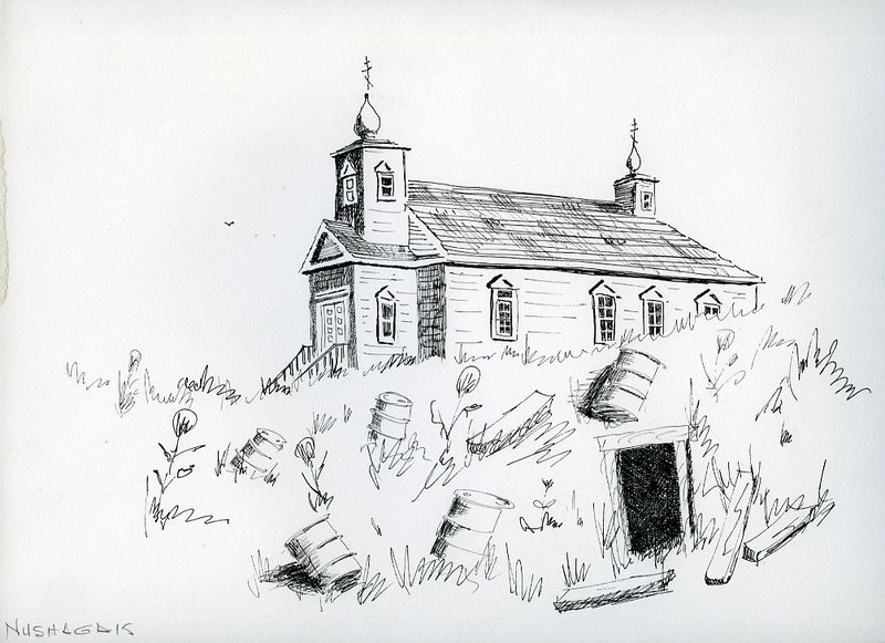 Drawing of Transfiguration of Our Lord Chapel in Nushagak