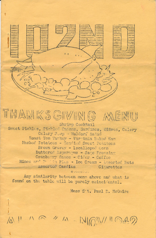 Thanksgiving, 102nd Signal Radio Intelligence Co., Fort Richardson, 1942