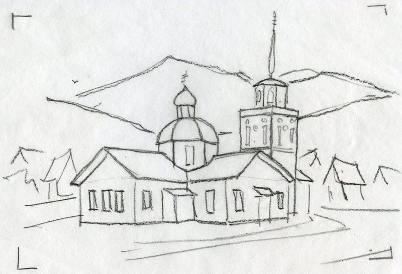 Sketch of St. Michael the Archangel Cathedral in Sitka