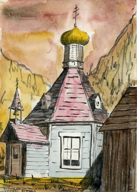 Watercolor of St. Nicholas Russian Church, Juneau