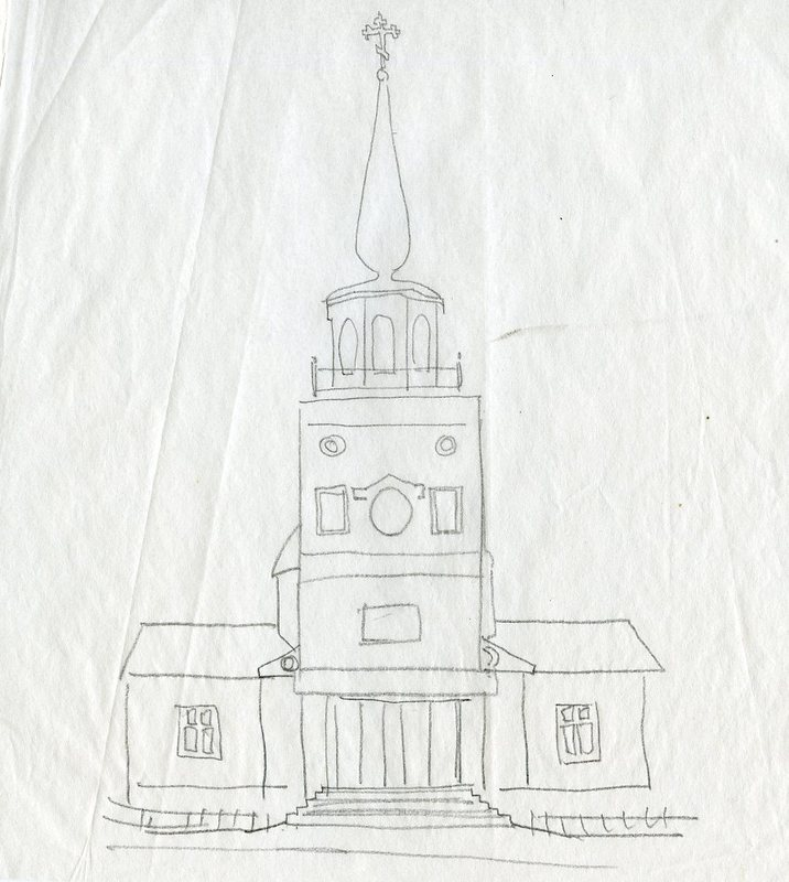 Front-view sketch of St. Michael the Archangel Cathedral in Sitka