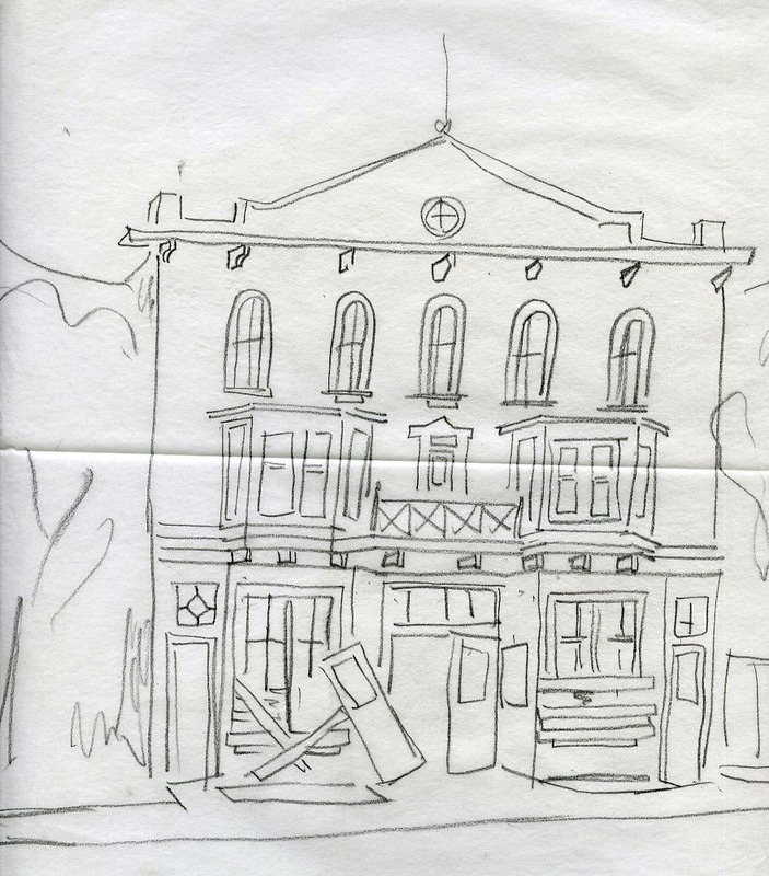 Sketch of Palace Grand Theatre, Dawson, YT