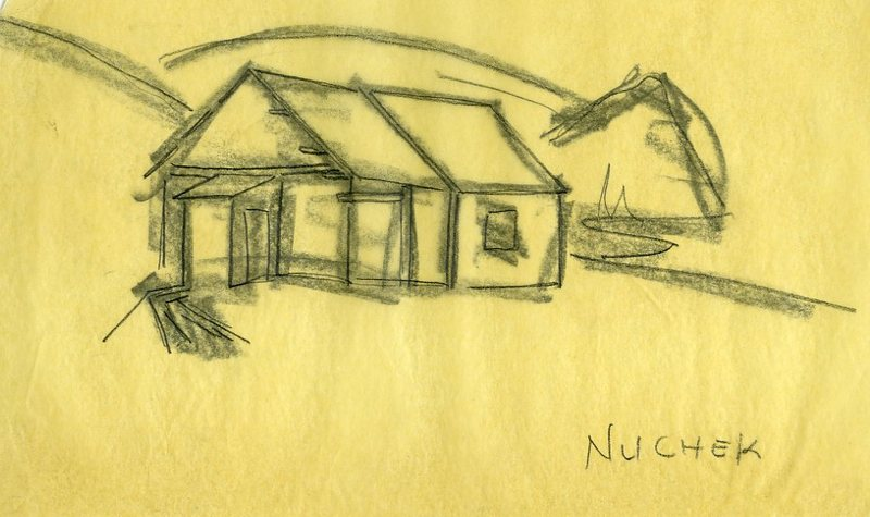 Sketch of a Russian Orthodox Church in Nuchek