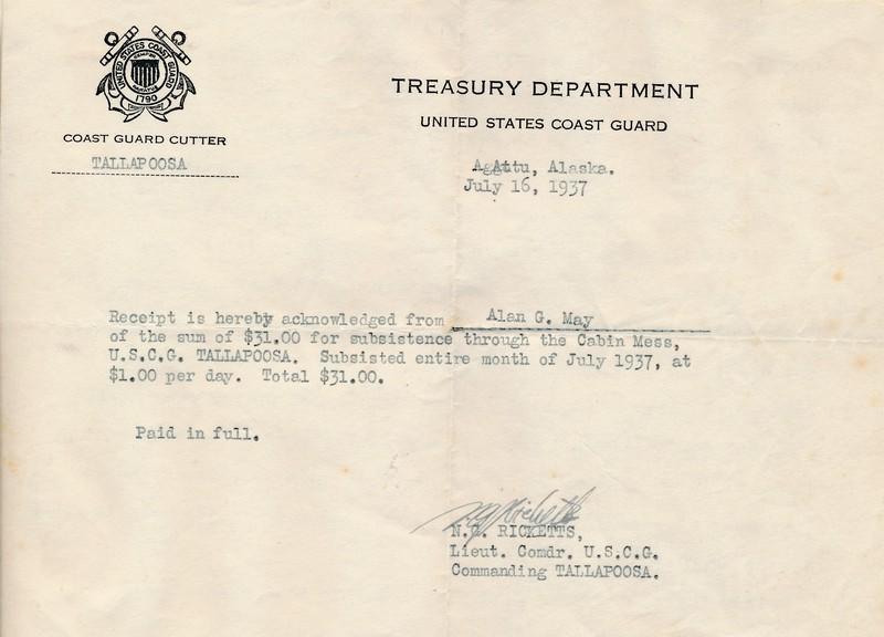 Food receipt from US Coast Guard Tallpoosa