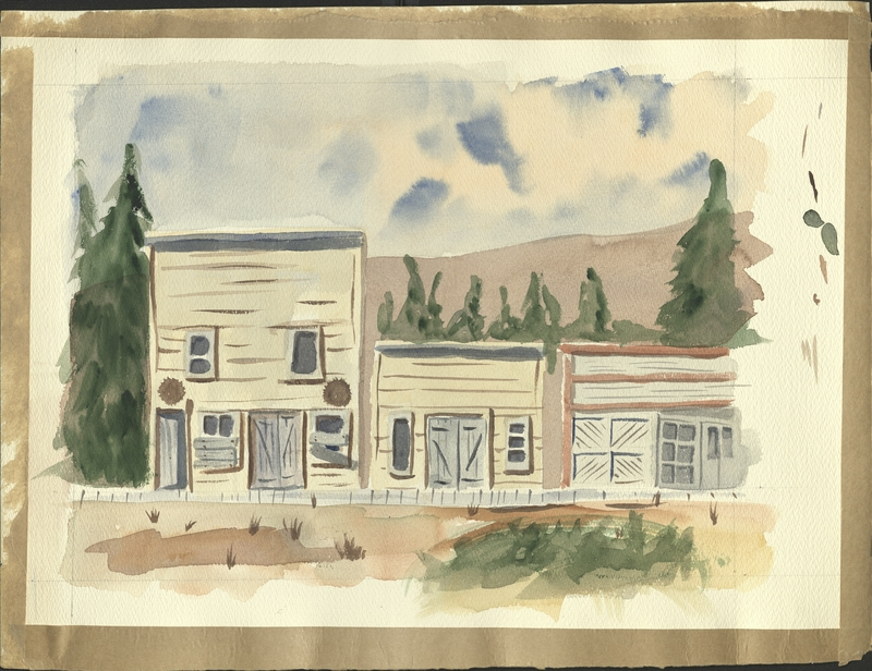 Watercolor of buildings on Third Ave in Dawson City