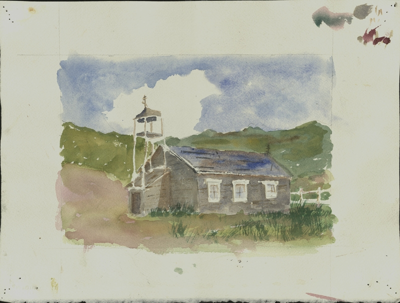 Watercolor of St. Nicholas Russian Orthodox Chapel