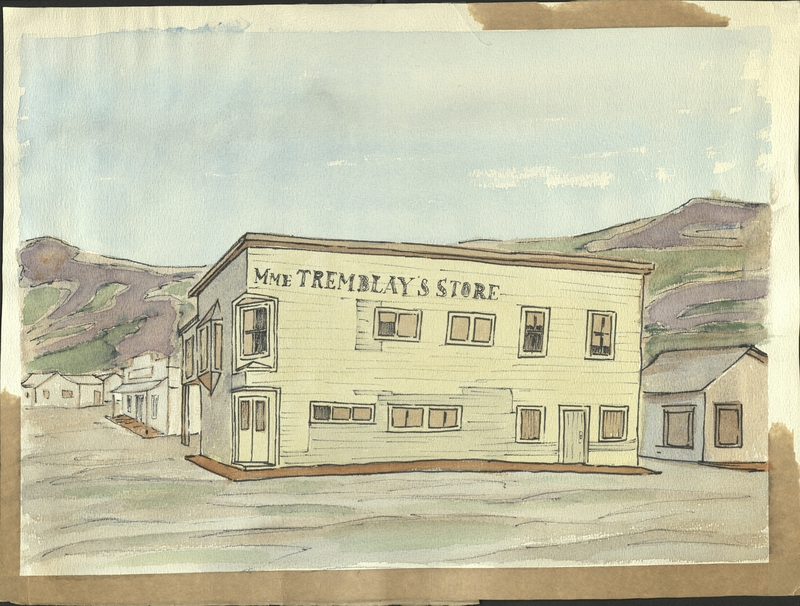 Watercolor of Madame Tremblay's Store Dawson City