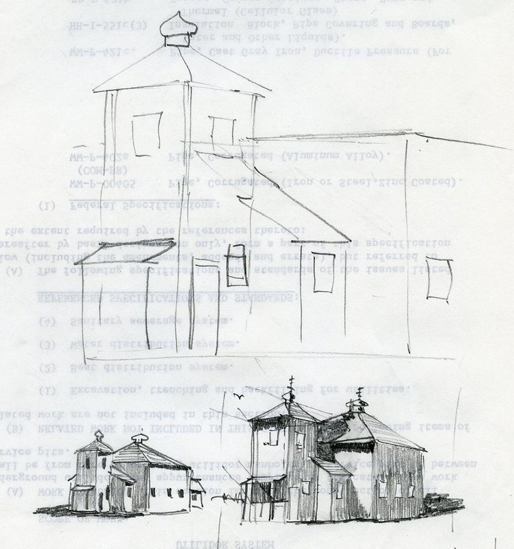 Sketches of the St. Nicholas Russian Orthodox Church in Nikolski
