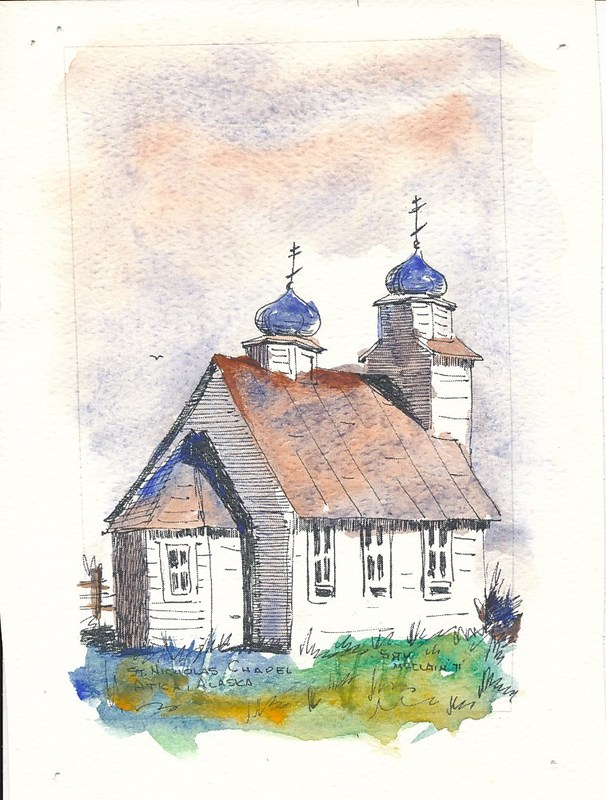 Watercolor of St. Nicholas Orthodox Chapel in Atka by Sam McClain