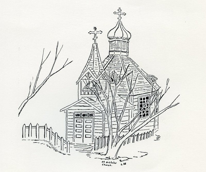 Sketch of Saint Nicholas Russian Church, Juneau