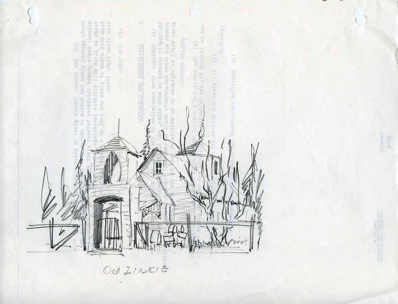 Sketch of Nativity of Our Lord Church in Ouzinkie