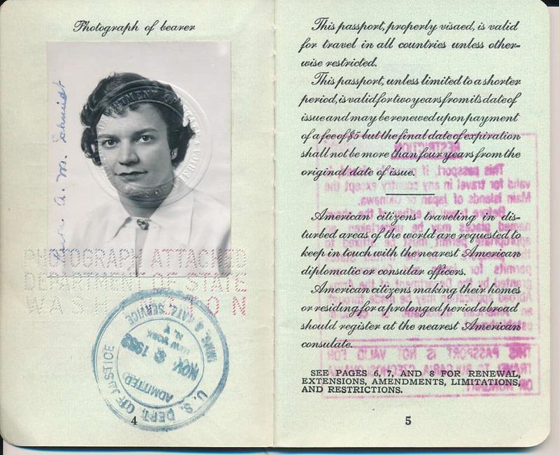 Ruth Schmidt's Passport, 1952.