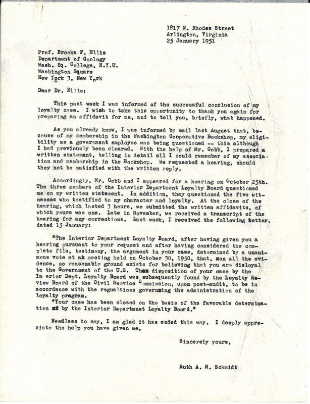 Letter to Professor Brooks F. Ellis from Ruth Schmidt, 1951 January 25.