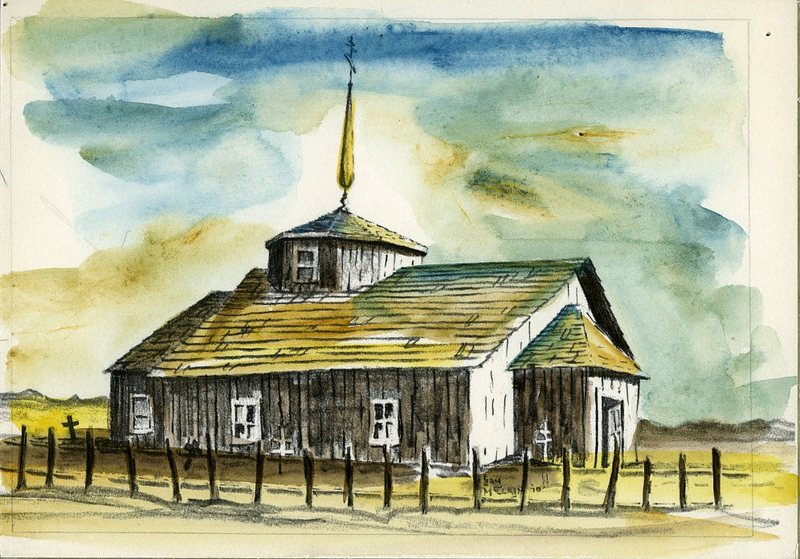 Watercolor of Russian Orthodox Church