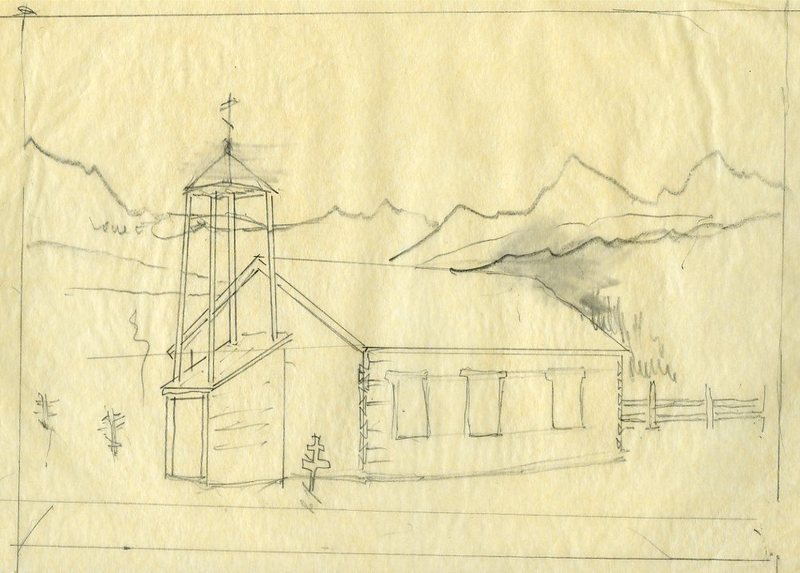 Sketch of St. Nicholas Russian Orthodox Chapel and Cemetery