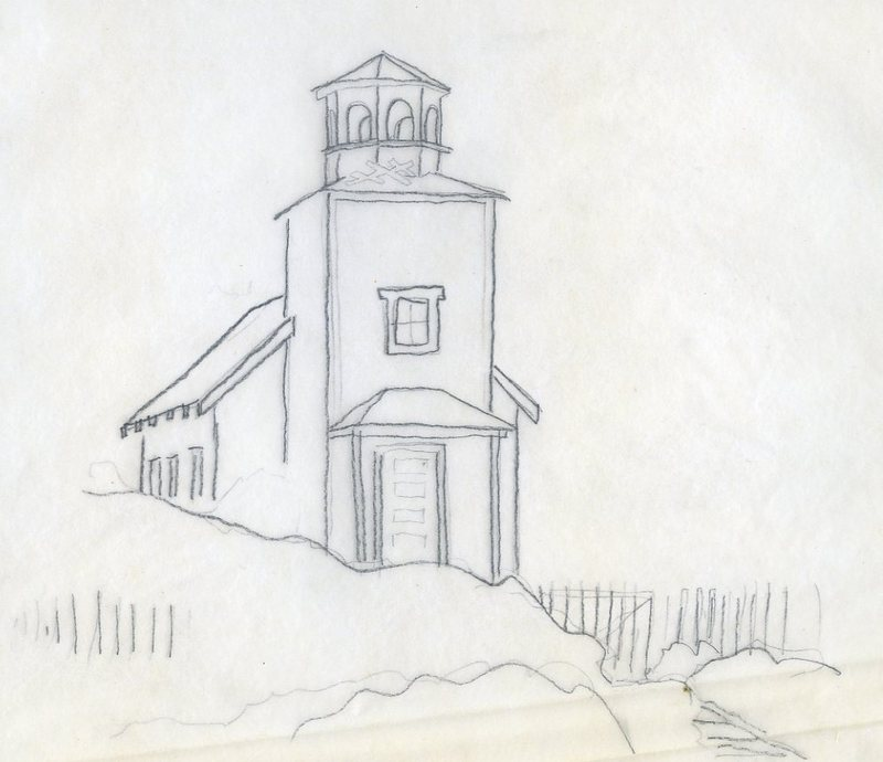 Sketch of St. Nicholas Russian Orthodox Church in Sand Point
