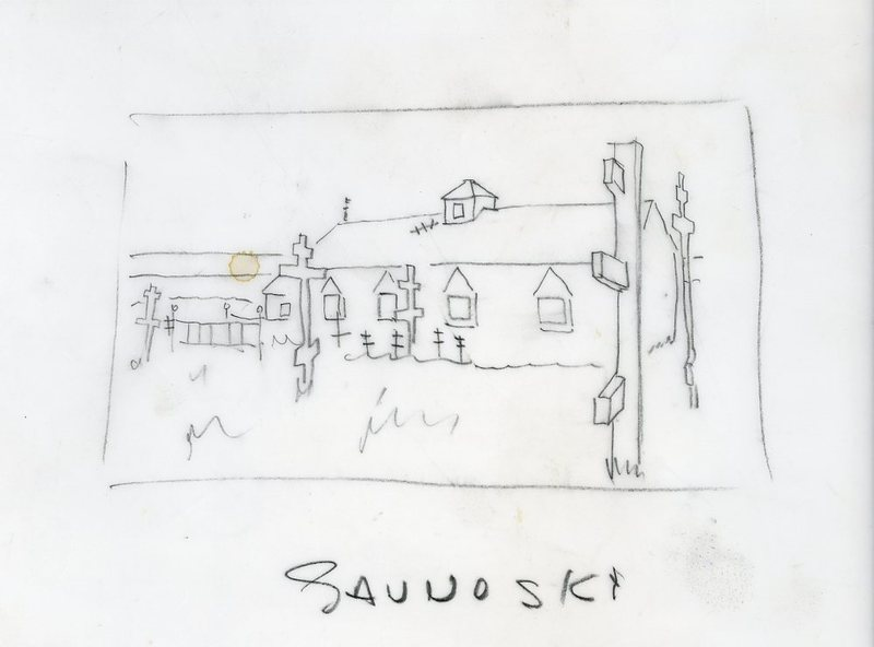 Sketch of a Russian Orthodox Church in Savonoski