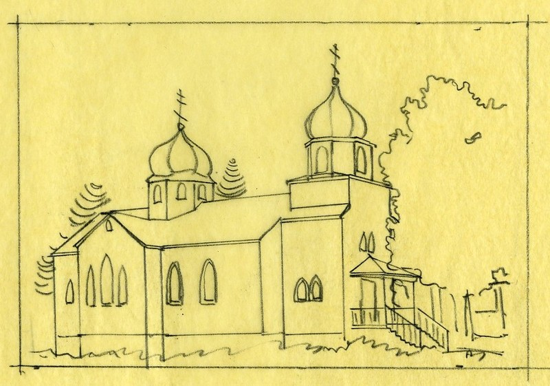 Sketch of Holy Resurrection Church in Kodiak