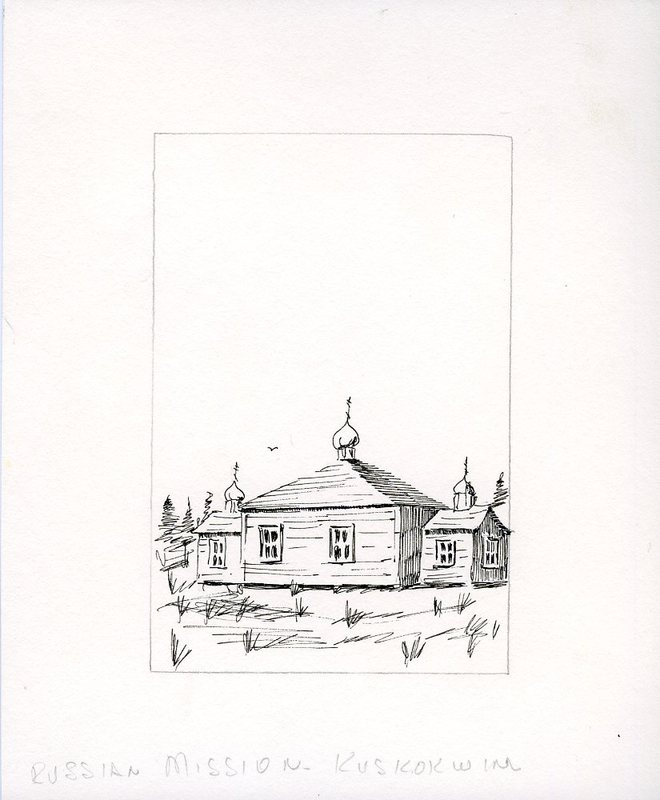Drawing of St. Sergius Chapel in Chuathbaluk