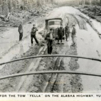 "Thanks for the tow ""Fella"" on the Alaska Highway. Yukon, Canada"