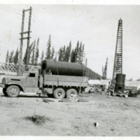 Camp construction on the Alaska Highway.